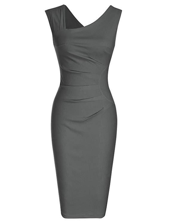 MUXXN Vestido de tubo de negocios delgado sin mangas estilo retro de los años 50