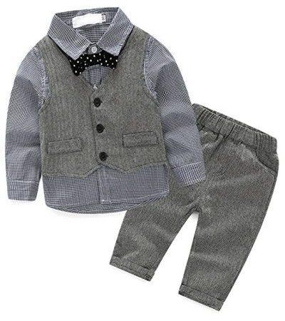 Abolai Conjunto de chaleco de 3 piezas para bebé niño con camisa-trajes de bebé