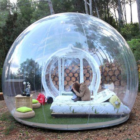 HHAiNi Exterior Transparente Túnel Inflable Tienda burbuja Familia Camping Patio Trasero