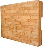 Tabla de cortar de bambú extragrande de Neet, grueso, pesado y sólido (16,5 x 12 x 2 pulgadas), bandejas para servir de madera orgánica natural y platos de queso, gran regalo de cocina para chef