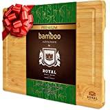 Tabla de cortar de bambú orgánico EXTRA GRANDE con ranura para jugo - Tabla de cortar de cocina para carne (), queso y verduras | Bandeja de servicio resistente antimicrobiana con asas - 18 x 12 '