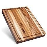 Sonder Los Angeles, tabla de cortar de madera de acacia sostenible multiusos grande, ranura para jugo de 16 x 12 x 1,5 pulgadas, reversible con soporte para galletas (caja de regalo incluida)
