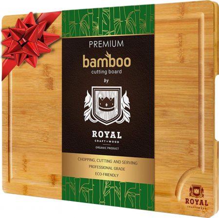 Tabla de cortar de bambú orgánico EXTRA GRANDE con ranura para jugo
