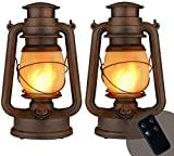 Linterna LED vintage, realista, llama parpadeante, para colgar al aire libre, con pilas, luces nocturnas de camping con paisaje remoto, decorativo para jardín, patio, terraza, camino, 1 paquete