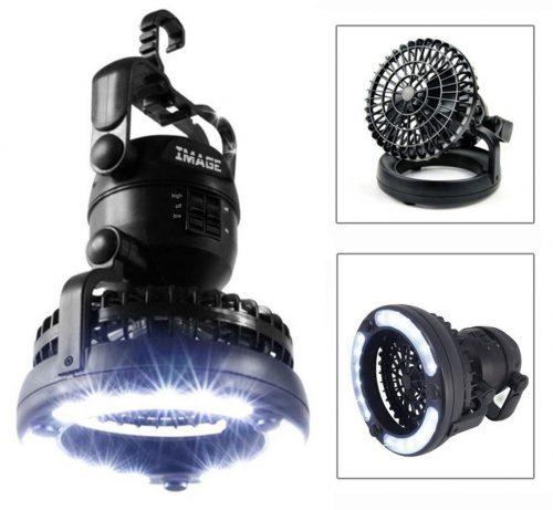Imagen Linterna LED portátil para camping con ventilador de techo