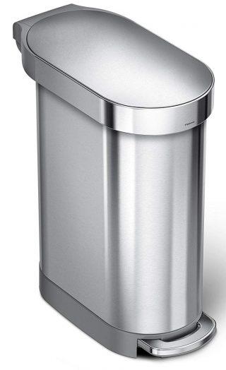 Simplehuman Slim Step Lata de acero inoxidable cepillado, 45 litros