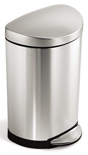 Simplehuman papelera semirredondo pequeño de acero inoxidable de 10 litros / 2,3 galones para baño