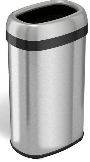 papelera de techo abierto ovalado con doble desodorante iTouchless