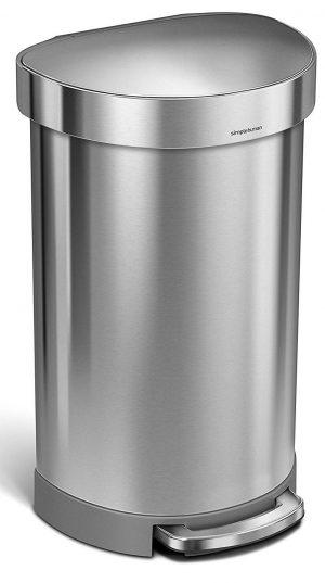 Simplehuman papelera semirredondo de acero inoxidable de 45 litros / 12 galones para cocina con borde de revestimiento