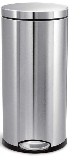 Simplehuman - papelera redondo de acero inoxidable con escalón para cocina de 30 litros / 8 galones