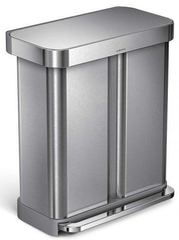 Simplehuman Bolsillo para forro de latas escalonadas de 58 litros / 15,3 galones, Reciclador de doble compartimento de acero inoxidable cepillado