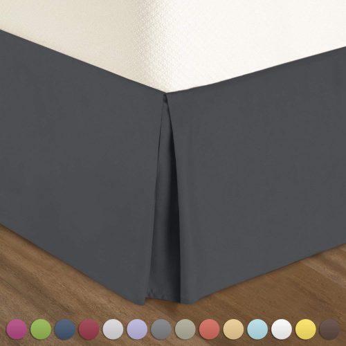 Falda plisada de cama Nestl Bedding - Volante de microfibra de lujo, caída a medida, tamaño completo, gris
