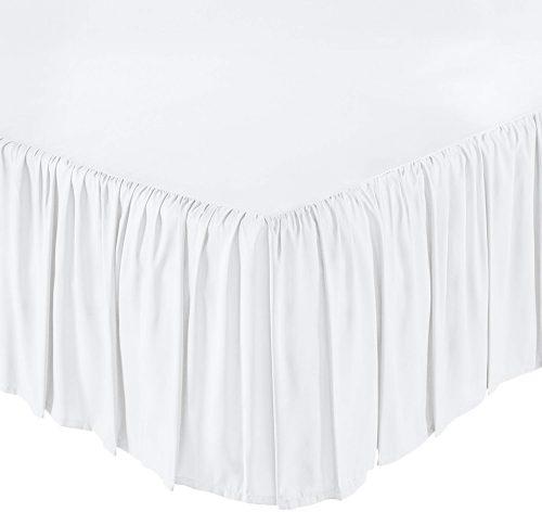Falda de cama con volantes AmazonBasics, gemela, blanco brillante