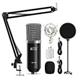 TONOR Kit de micrófono de condensador de estudio profesional para ordenador con soporte de mano XLR de 3.5 mm / filtro de pop / tijeras de mano / soporte de choque para grabación de estudio profesional, transmisión de podcasts, azul