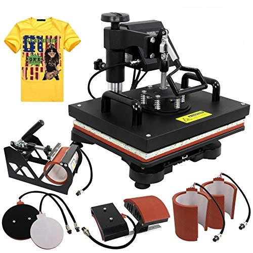 ZENY Heat Press 12''x15 '' Pro 6 en 1 Combo Heat Press Machine Transferencia digital de camisetas multifunción