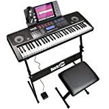 Teclado de piano RockJam 61 con kit de pantalla táctil, soporte para teclado, banco de piano, alimentación de pedal, auriculares, aplicación Simply Piano y pegatinas para teclas