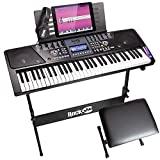 Teclado de piano RockJam 61 con kit de pantalla LCD, soporte para teclado, banco de piano, auriculares, aplicación de piano y pegatinas para teclas
