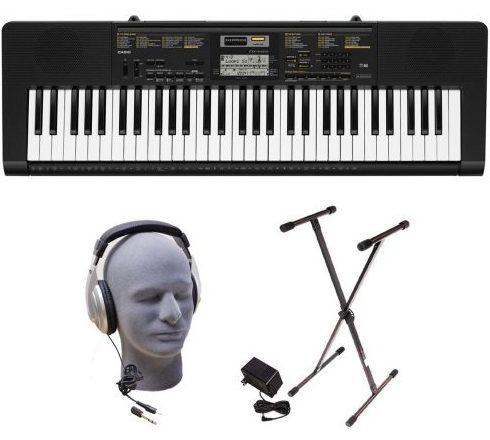 Paquete de teclado portátil premium de Casino Inc. CTK2400 PPK 61 teclas con auriculares Samson HP30