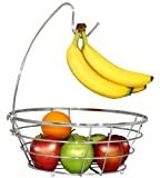 Cuenco inalámbrico para árboles frutales DecoBros con colgador de plátano, acabado cromado
