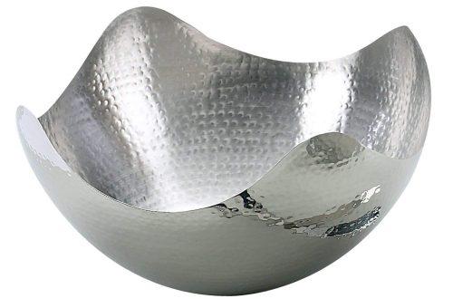 Tazón para servir ondulado de acero inoxidable martillado de 10 pulgadas