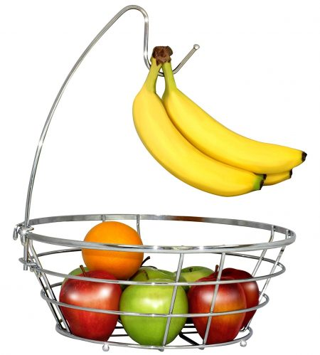 Cuenco inalámbrico para árboles de frutas DecoBros con colgador de plátanos, acabado cromado