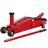 BIG RED T83006 Torin Trolley hidráulico de servicio / gato de piso con sillín adicional (se adapta a: SUV y camiones de altura extendida): capacidad de 3 toneladas (6,000 lb), rojo