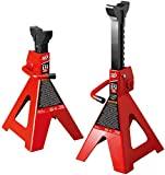 BIG RED T42202 Soportes de acero Torin: 2 toneladas (4.000 lb) de capacidad, rojo, 1 par