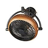 Ventilador de techo de montaje en pared industrial de 8 pulgadas para montaje en ventilador de techo con guía de motor ajustable de 2 velocidades, listado por UL, acabado negro / nogal