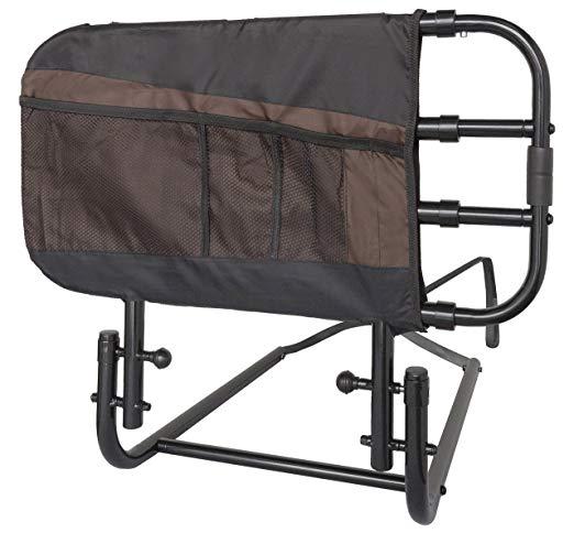 Soporte EZ Adjust y pivotante Manija de riel de cama para el hogar para adultos / Manija de asistencia para abatir hacia abajo