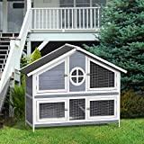LZ LEISURE Zone 50.2 'Pet Hutch Rab Cage Bunny Cage Casa de madera para animales pequeños para uso en exteriores / interiores (gris + blanco)