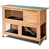 PETSJOY Rabbit Hutch, 52 'Large Pet Bunny House Condo, Jaula para aves de corral al aire libre, Gallinero de madera para pollos