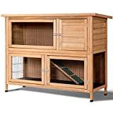 Hutk Rabbit Tangkula Jardín al aire libre Patio trasero de madera Gallinero Gallinero de madera Conejo Casa de aves Jaula para animales pequeños (52