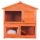 Jaula para mascotas ZSQ para conejos de madera para conejos, interior y exterior, para mascotas pequeñas de diseño de dos pisos
