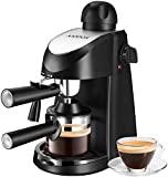 Máquina de café espresso, cafetera Aicook de 3,5 bar espresso, máquina de café exprés y capuchino con espumador de leche, cafetera exprés con vaporizador, negro