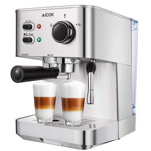 Máquina de café espresso Aicok, máquina de capuchino, cafetera latte