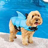 SwimWays Sea Squirts - Chaleco para perros con aleta para seguridad de natación para perros, Color: Azul, Tamaño: Pequeño