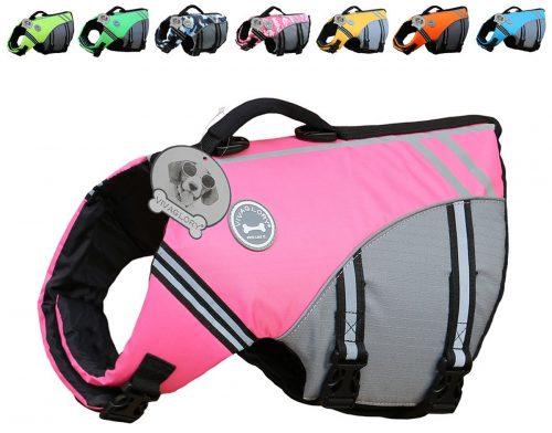Vivaglory New Sport Style Ripstop Chaleco salvavidas para perros con flotabilidad superior y mango de rescate