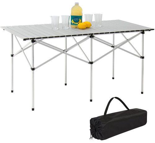 Best Choice Products Mesa de picnic portátil de aluminio enrollado de 55 pulgadas para acampar con bolsa de transporte