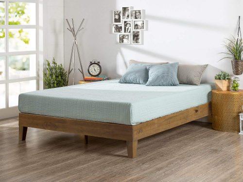 Cama de plataforma de madera de lujo Zinus de 12 pulgadas / sin somier / soporte de varilla de madera / acabado de pino rústico