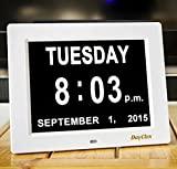 DayClox: el reloj diario original con calendario de pérdida de memoria digital con día y mes extra no acortados. Perfecto para personas mayores