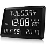 Reloj digital Raynic 11.5 'Regulable Reloj de pared digital Pantalla LED grande con palabras, Brillo ajustable Reloj despertador digital con día y fecha, Temperatura interior, Snooze, 12 / 24H, DST para el hogar, la oficina, los ancianos