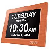 American Life, última versión, reloj digital antiarrugas con visión extra incorrecta con batería de respaldo y 5 opciones de alarma, color marrón madera