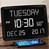 Reloj despertador grande para dormitorio de 11,5 pulgadas, reloj diario con calendario, reloj de pared para escritorio de cocina digital, LED de visión débil con fecha, temperatura, 5 atenuadores, 3 alarmas, 2 cargadores USB, horario de verano, 12/24 H para personas mayores, pérdida de memoria