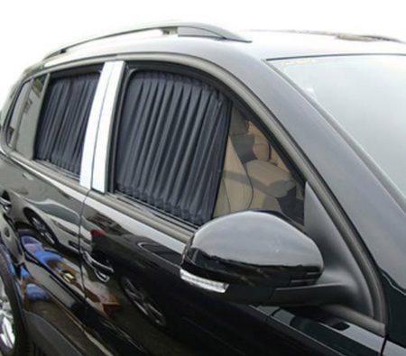BININBOX 2 uds., Estilo de cortina, malla VIP, para ventana de coche, visera negra ajustable, parasol