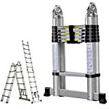 Escalera de extensión de telescopio de aluminio de 16.5 pies y 330 libras Portátil multiusos Portátil ligero Marco en A con marco en A con barra de soporte antideslizante certificada EN131