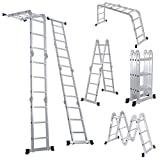 Escalera de aluminio multiusos Escalera plegable Luisladders 7 en 1 Etapa Combinación de servicio pesado Norma EN 131 (12,5 pies)