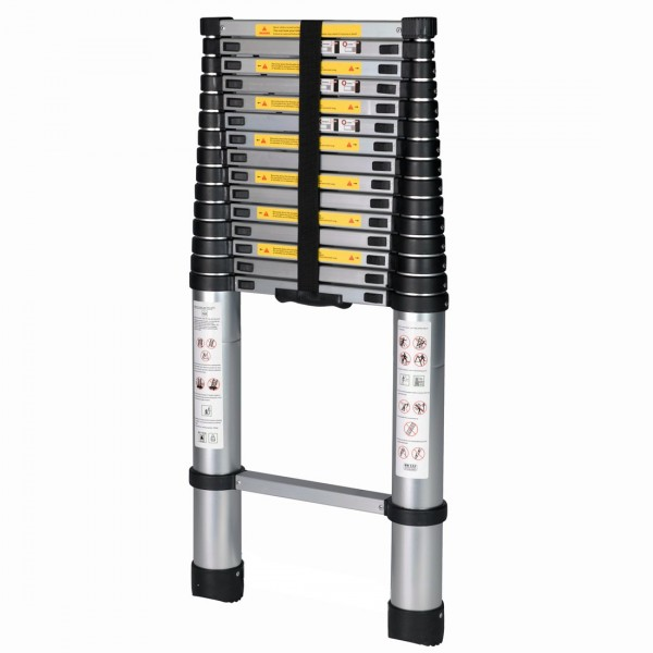 12. Good Life - Escalera telescópica plegable profesional de aluminio plegable EN131 de 15.5 pies