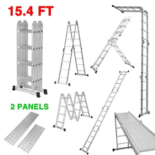 Escalera de extensión de aluminio multiusos 6. Escalera telescópica Finether 15.4ft