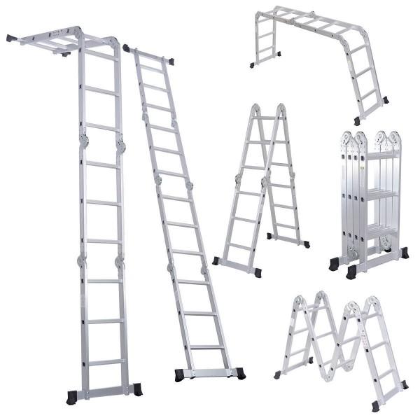 1.Lusladders Escalera plegable de aluminio plegable multipropósito 7 en 1-Escaleras multipropósito