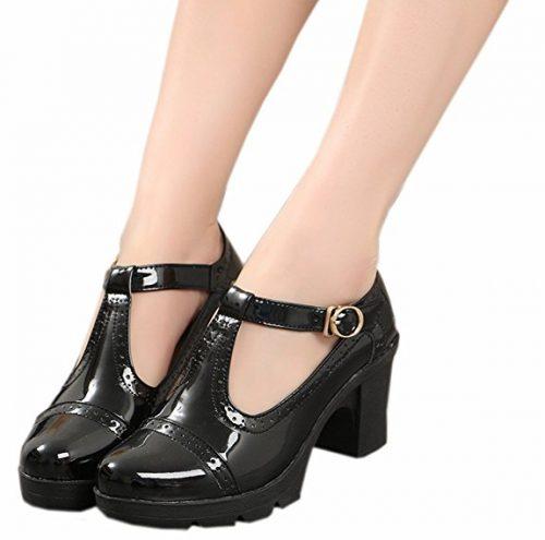 Zapatos clásicos DADAWEN de plataforma con tiras en T para mujer, plataformas de vestir, punta cuadrada, tacón medio
